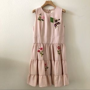 Kate Spade. Floral Embroidered Pink Tiered Dress
